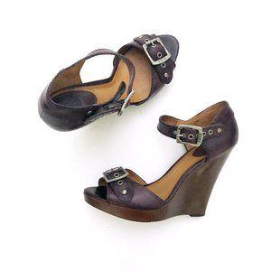FRYE Women's Dark Purple Leather Platform Wedges 9